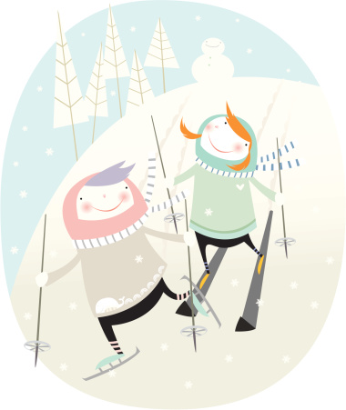 illustration enfants a la neige